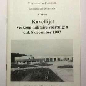Kavellijst Militaire voertuigen 1992