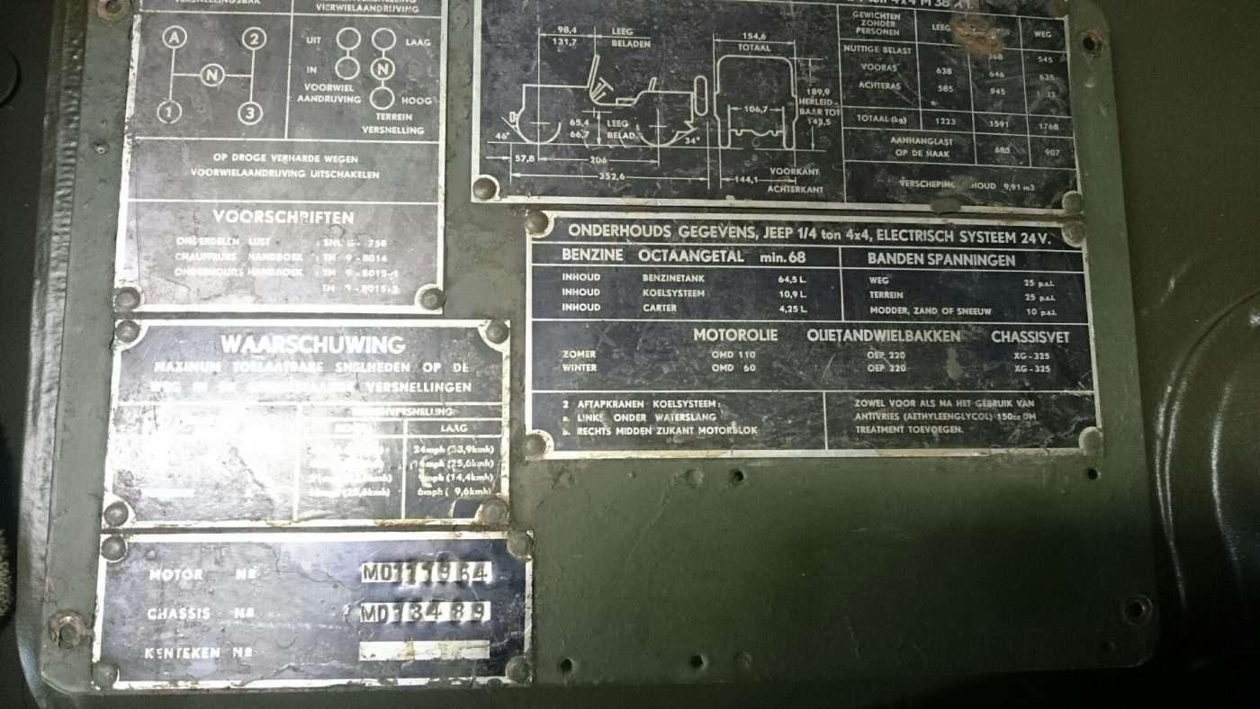 Jeep Nekaf M38a1 data plates - RJ Army Militaria