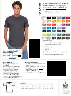 t-shirt kleuren en maattabel