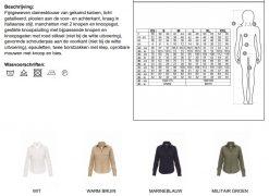 Dames blouse PP0941 tabel