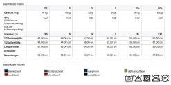 Dames softshell jas JN1145 tabel
